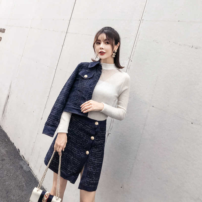 97d7631cd0 ... YD-EVER Tweed Denim 2 Piece Set Winter Women Gold Single-Breasted Long  Sleeve ...