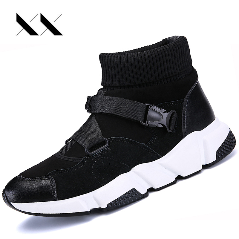 Hommes Sport course chaussures en cuir véritable maille chaussettes baskets extérieur coussin Jogging athlétique haut entraînement marche Zapatos