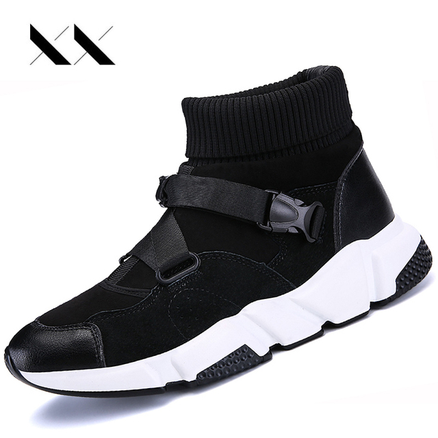 d5fbaee8e17f Men Sport Running Shoes Genuine Leather Mesh Socks Sneakers Outdoor Cushion Jogging  Athletic High Top Training Walking Zapatos