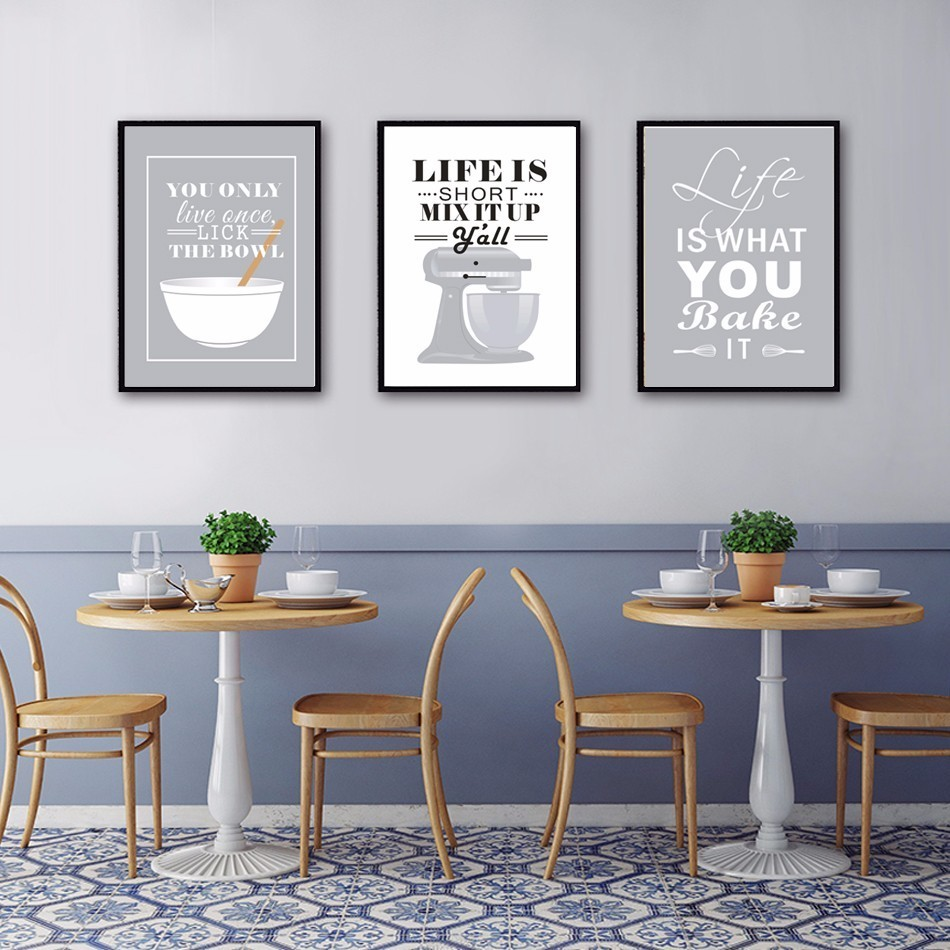 Kitchen Wall Painting Designs: New Baking Canvas Painting Life Quote Oil Posters And