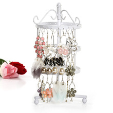 Multi Color 3 Tiers Metal 72 Holes Round Rotating Spin Table36 Pairs Earring Holder Jewelry Stand Display Rack Towers