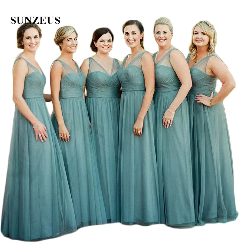 Simple Elegant A-Line   Bridesmaid     Dresses   Long Sheer Tank V Neck Maid of Honor   Dresses   Pleats Top Girls Prom   Dresses   2018 SBD89