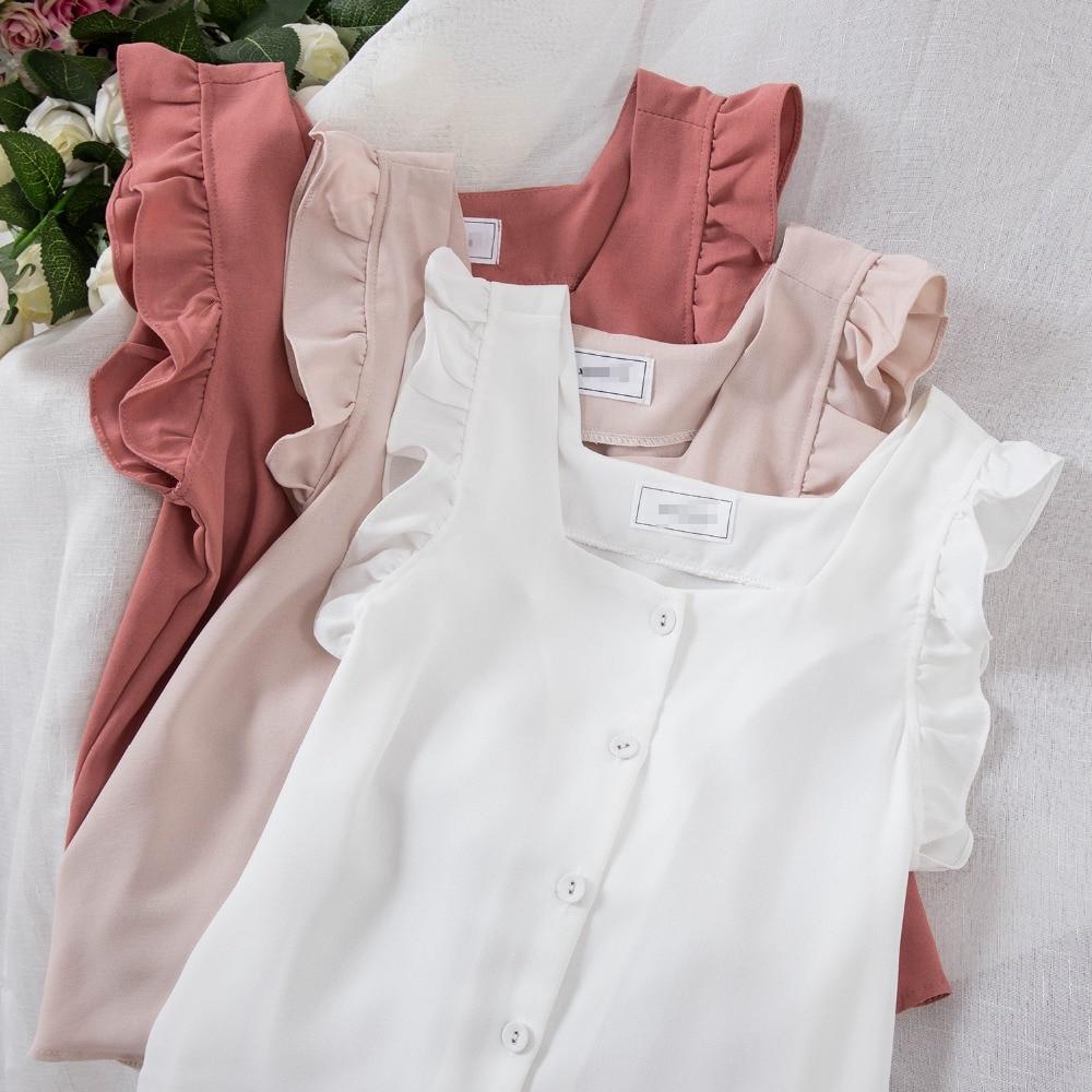 White Ruffled Blouse Square Neck Summer Top Chiffon Blouse Boho Shirt Blusas Mujer De Moda 2020 Womens Tops And Blouses Clothes(China)