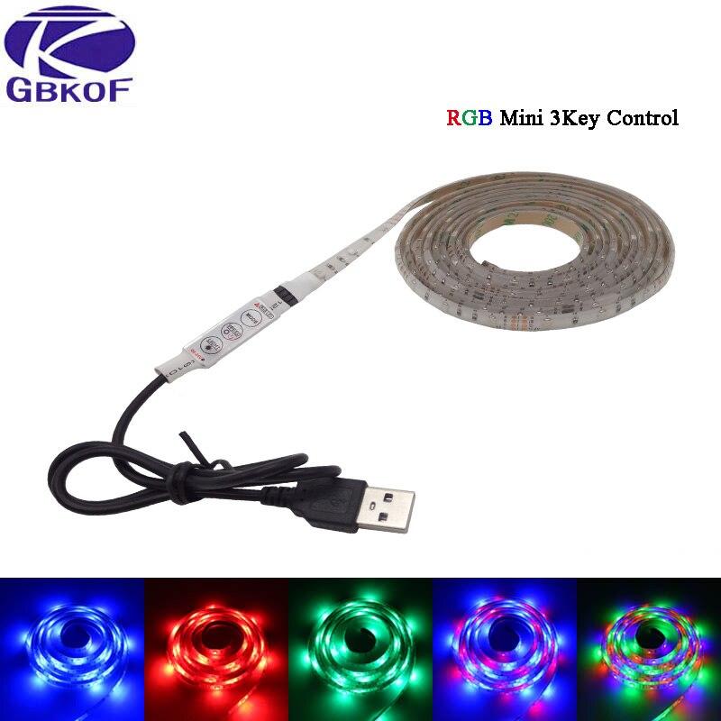 USB RGB LED Strip 5050/3528 Flexible Adhesive Tape Multi-color Changing Lighting Kit for Flat Screen HDTV LCD Desktop PC Monitor