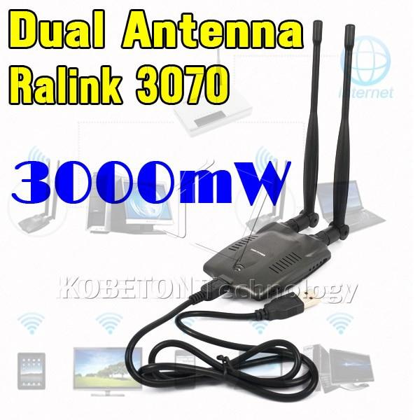Kebidumei USB WiFi Adapter High Power 3000mW Dual Wifi Antenna 5dB 150Mbps Wireless Network Card Wireless WiFi Receiver BT-N9100