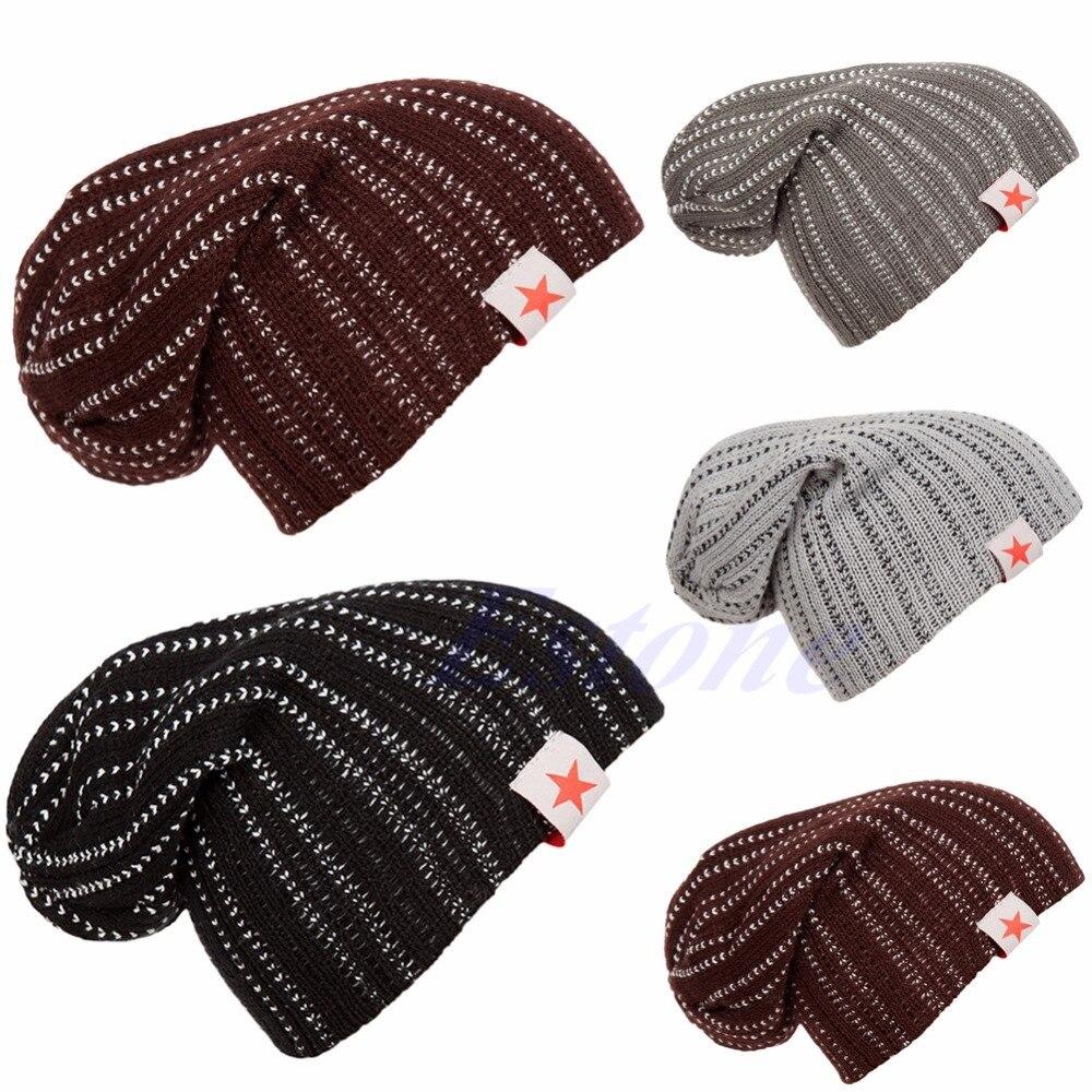 Winter Men Women Knit Beanie Reversible Slouch Skull Chunky Baggy Cap Unisex Hat winter men women knit beanie reversible skull chunky baggy cap warm unisex hat