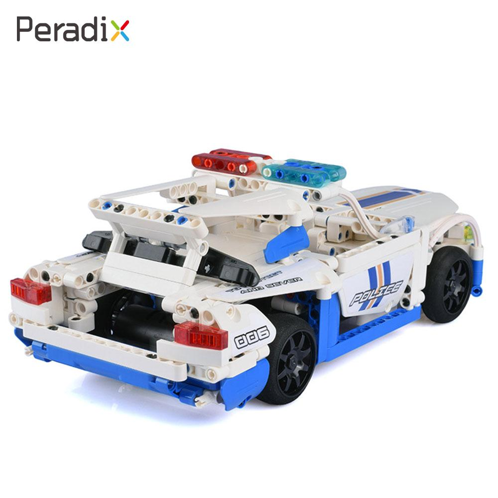 Boy Assemble Police Car Blocks RC Vehicles Premium DIY Building Blocks Car GT Police Car 430pcs Assembled Vehicles Gift Toys