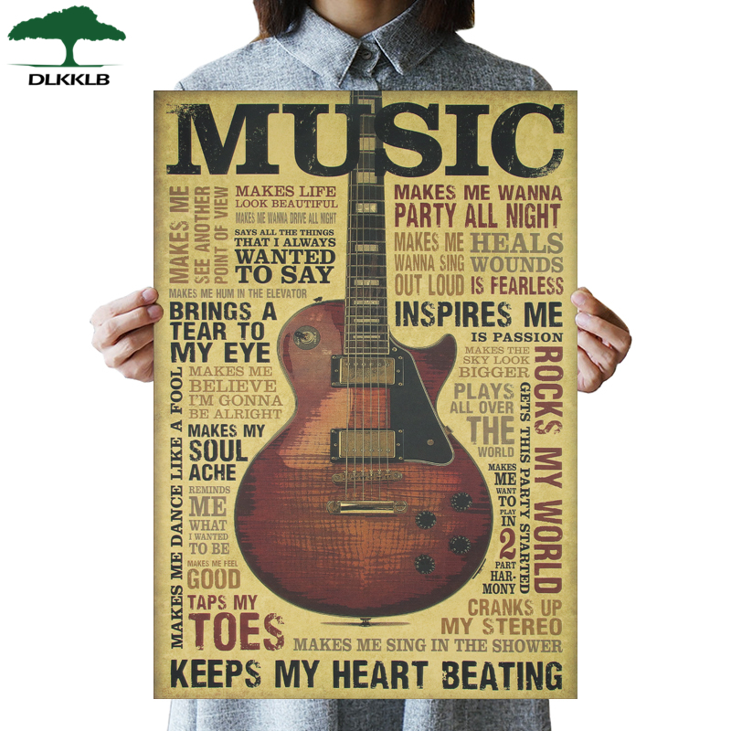 DLKKLB Music Guitar B Style Poster Classic Vintage Retro Kraft Paper Poster Bar Cafe Home Decor Wall Sticker Decorative Painting