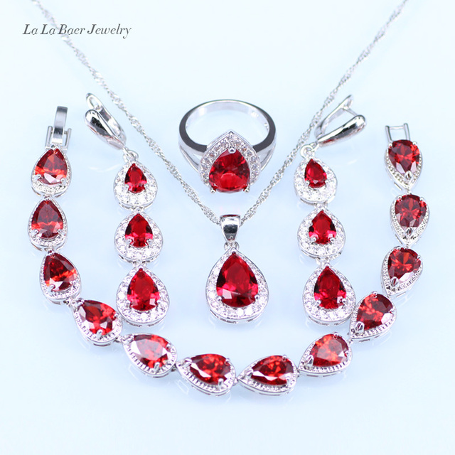 L B White Crystal Red Created Garnet Jewelry Set For Women Silver 925 Wedding Bracelet Pendant Necklace