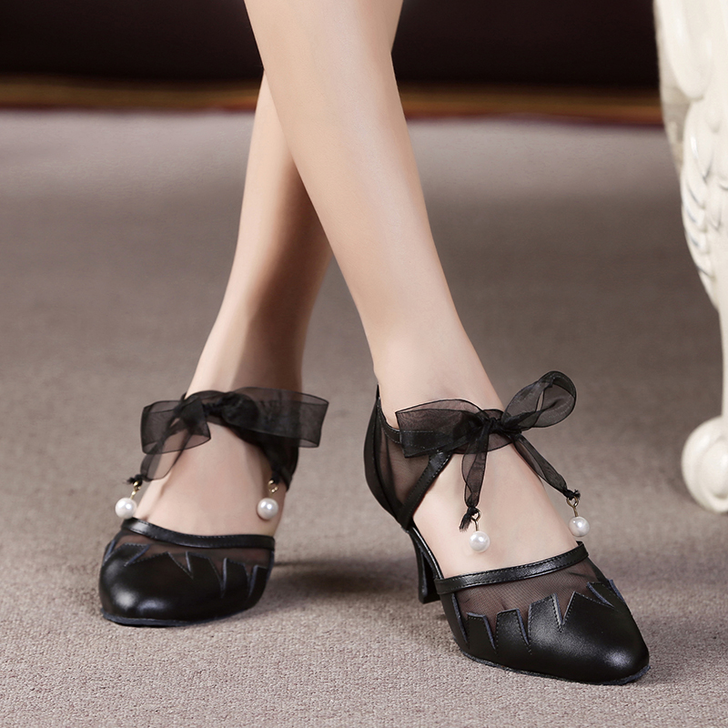Leather Women Latin Dancing Shoes Black Closed Toe Salsa Ballroom Customized Heels