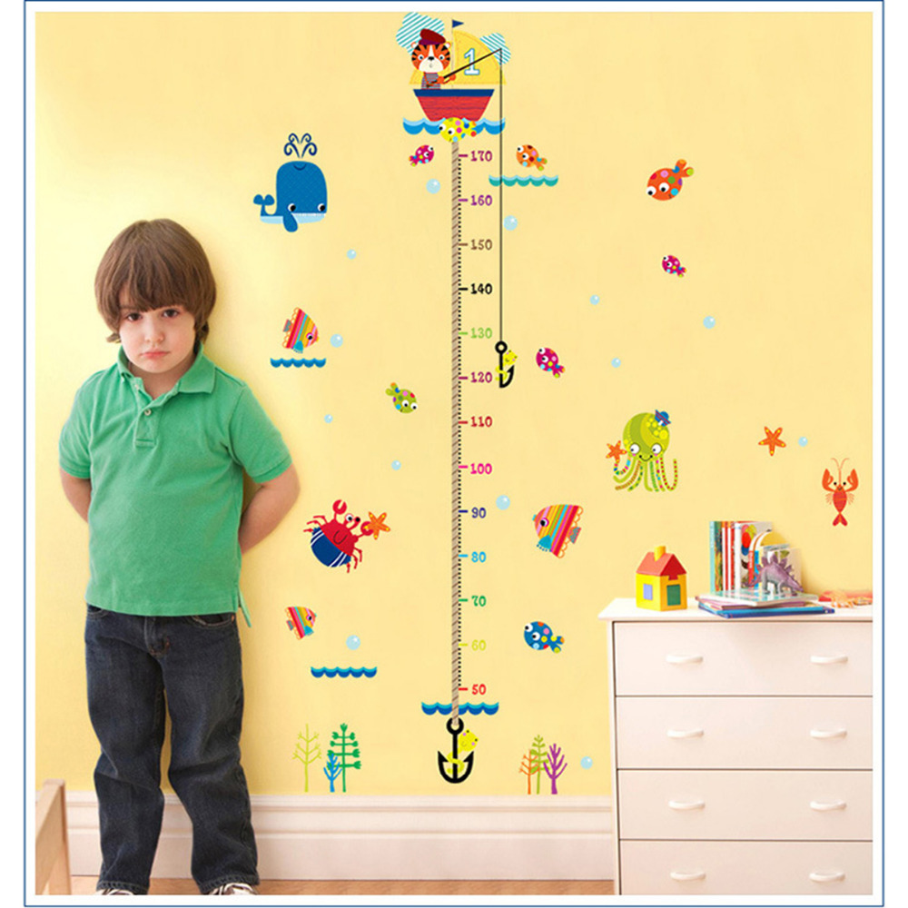Cute Animals Fish Kids Growth Chart wall decal Height Measure Wall Stickers Kids Room Decoration Cartoon Mural Art Home Decals