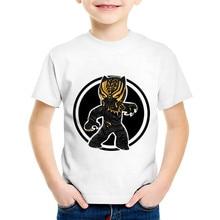 цена Children Fashion Print Black Panther Funny T-shirts Kids Summer Short Sleeve Tees Tops Baby Cool Clothes For Boys/Girls,HKP2250 онлайн в 2017 году