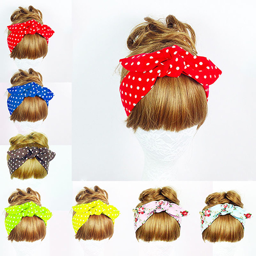 Fashion Women Floral Print Polka Dot Turban Knotted Head Warp Headband Hair Band