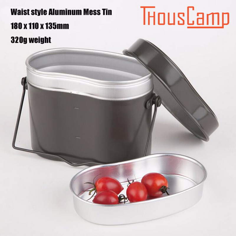 Outdoor Camping picnic Cookware Hiking Cook Set Bento Lunch Dinner Boxes Pot Bowl Soup With Handle For German Military