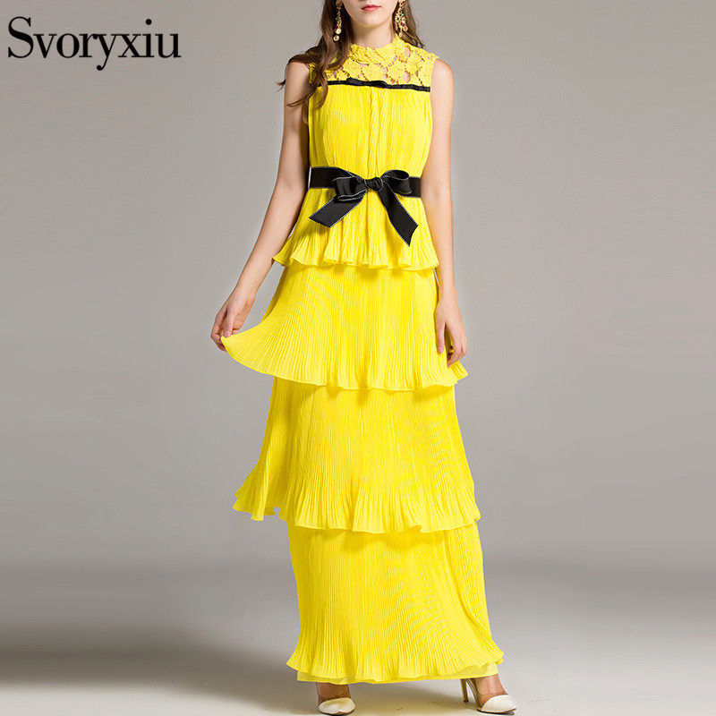 c9da452aae550 US $74.79 15% OFF|SVORYXIU Summer Runway Designer Boho Long Dress Women  High Quality Sleeveless Solid Color Pleated Cascading Ruffle Beach Dress-in  ...