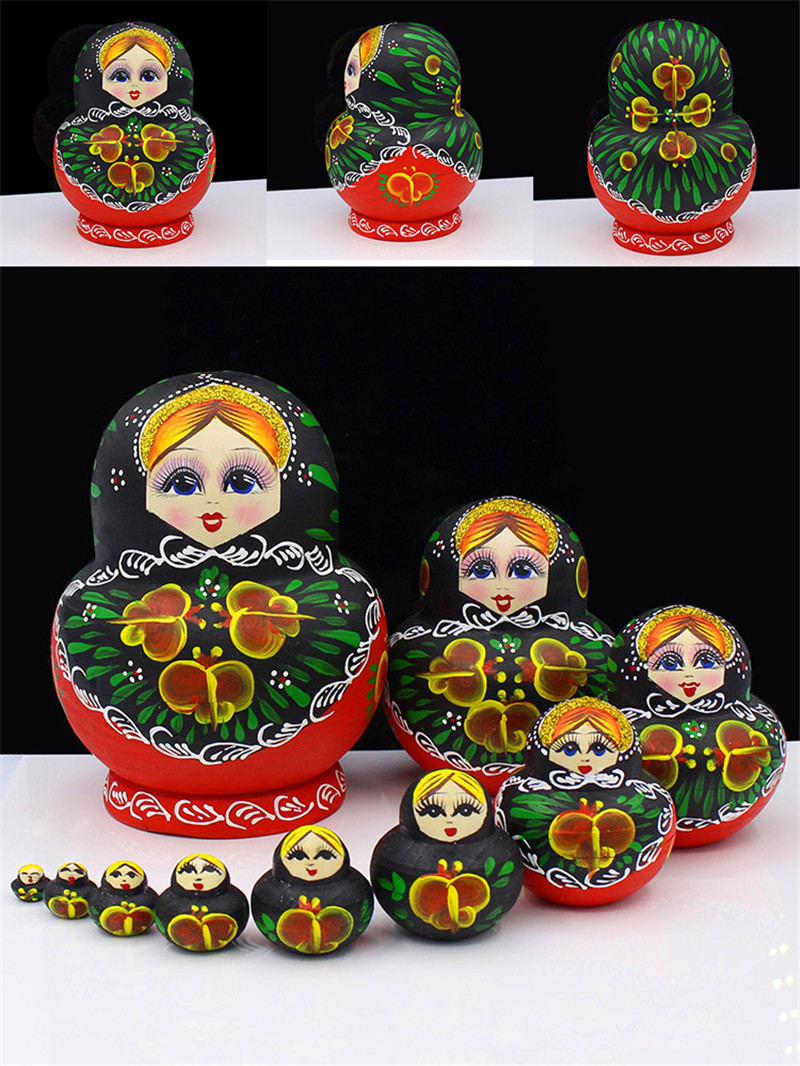 10 couches Heathy peint à la main russe nidification poupées sec tilleul artisanat Matryoshka poupée éducation bricolage jouets en bois L30