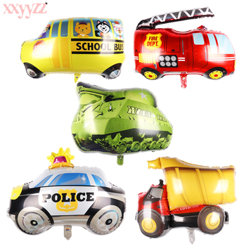 XXYYZZ mini car aluminum foil balloon fire truck ambulance Tank air balloon children's toys decoration birthday party balloons image