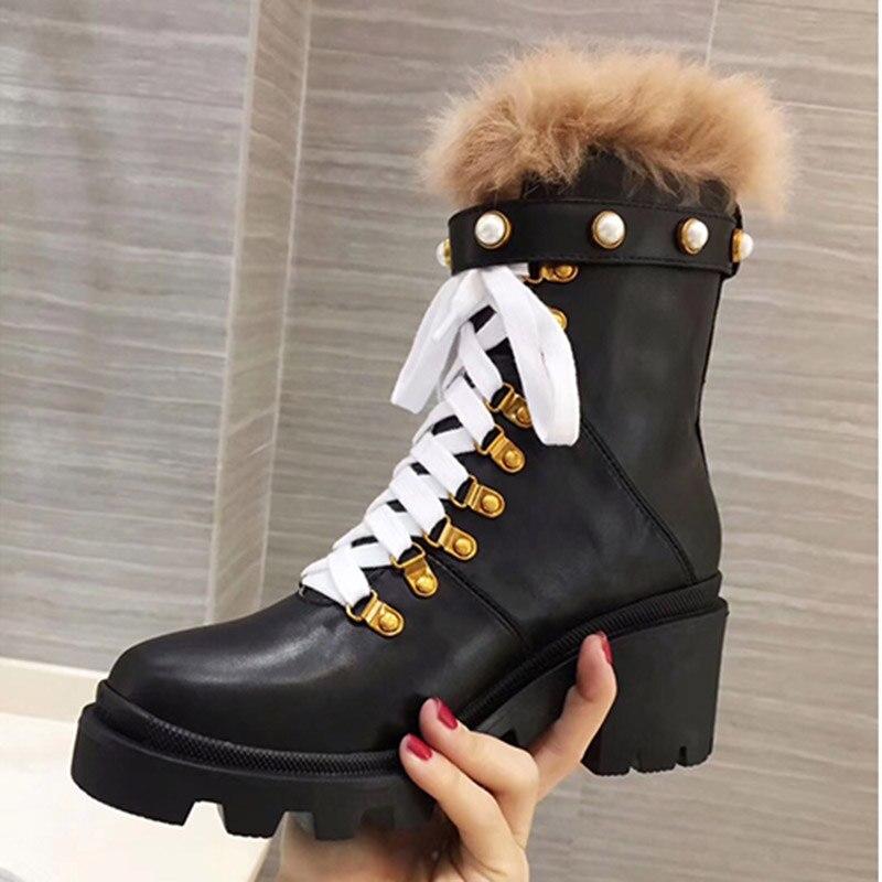 Botas de tobillo negras de cuero Real 2019 para mujer, botas de tacón alto con remaches de perlas de Color mezclado, botas Martin de moda para mujer - 3