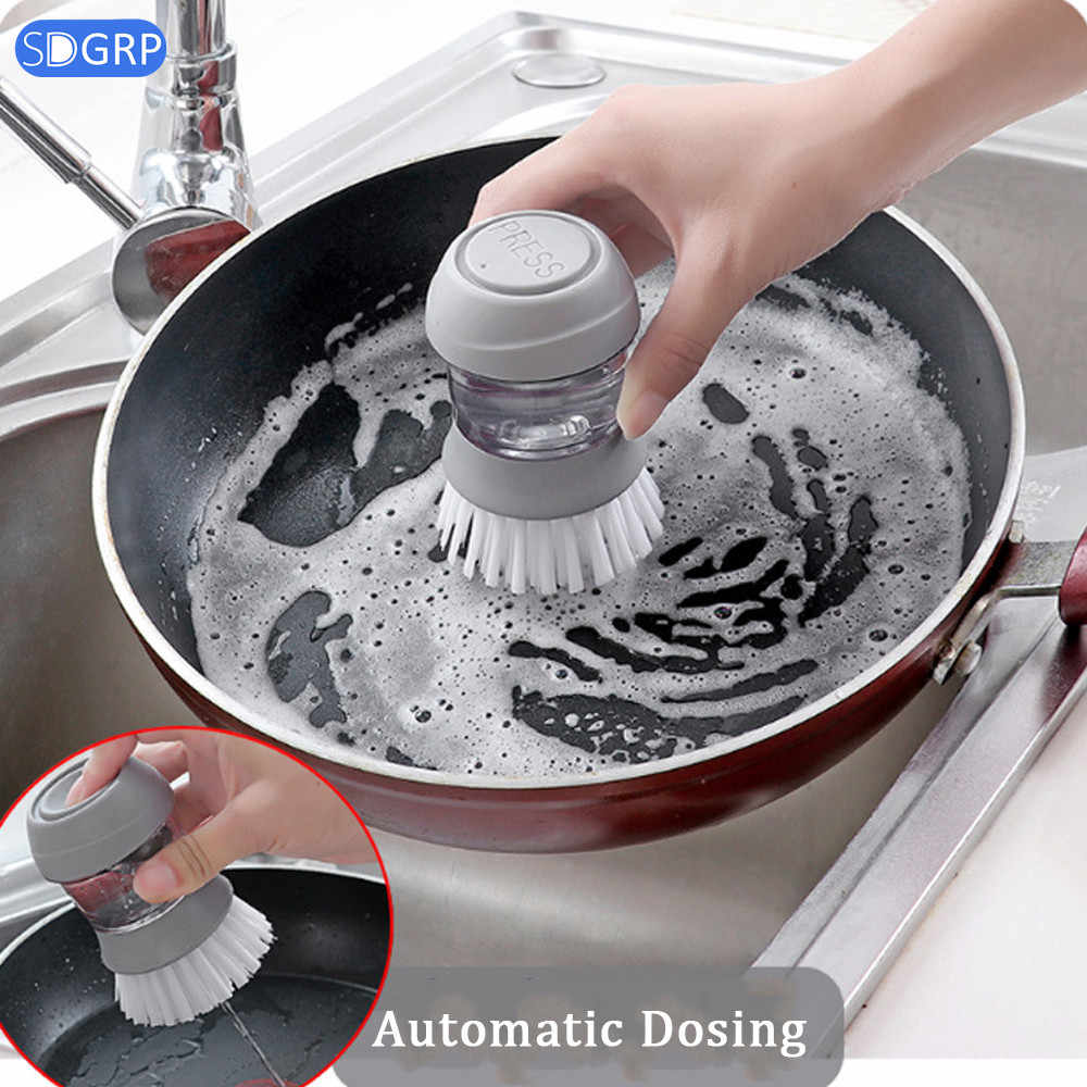 Non-stick Oil Automatic Liquid Cleaning Brush for Dishwashing Decontamination Wash Pot Kitchen Appliances Brush Pot Artifact