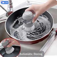 Non-stick Oil Automatic Liquid Cleaning Brush for Dishwashing Decontamination Wash Pot Kitchen Appliances Brush Pot Artifact
