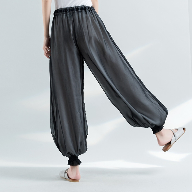 Qiukichonson 2019 Summer Pants Women Casual Wide Leg Pants Elastic Waist Jogger Pants Ladies Trousers Polyester Silk Loose Pants