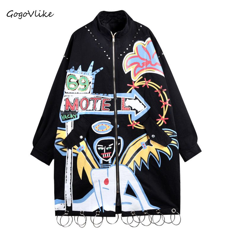 Graffiti Print   trench   coat para mulheres 2017 Autumn Women Rivet Metal Ring Pocket Loose Punk Army Green Windbreaker LT219S40