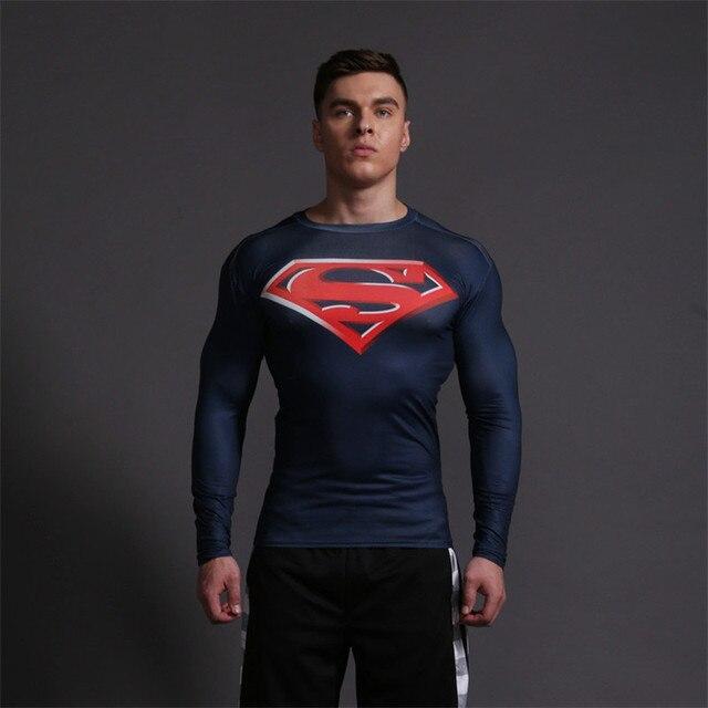 Homens camisa de compressão da marvel capitão américa superman camiseta de  manga comprida calças de eb62495a2683b