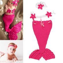 Комплект одежды из 3 предметов для новорожденных с изображением рыбьего хвоста, спальный мешок, повязка на голову с цветочным рисунком, детский вязаный наряд для фотосъемки, фотосессия для новорожденных