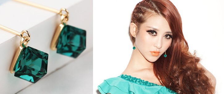 15 Colors Crystal Cube Dangle Earrings