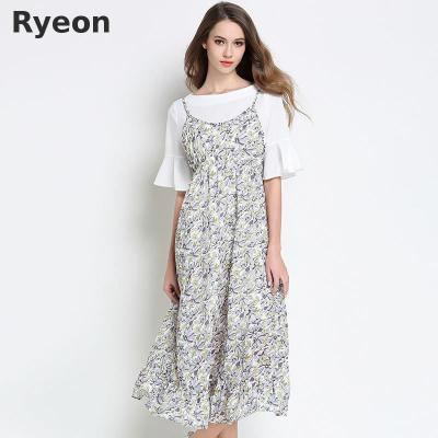 Ryeon Spring Knitted Jumper Dress Sweater Dress Preppy V-neck Retro So 976ba61ab2ed