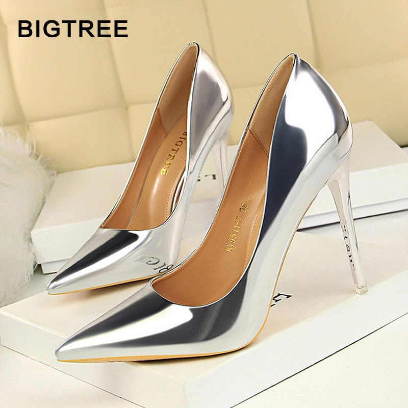 BIGTREE ayakkabı yeni kadın ayakkabı pompaları rugan yüksek topuklu ayakkabılar kadın topuklu seksi düğün ayakkabı Stiletto bayanlar ayakkabı artı boyutu 43