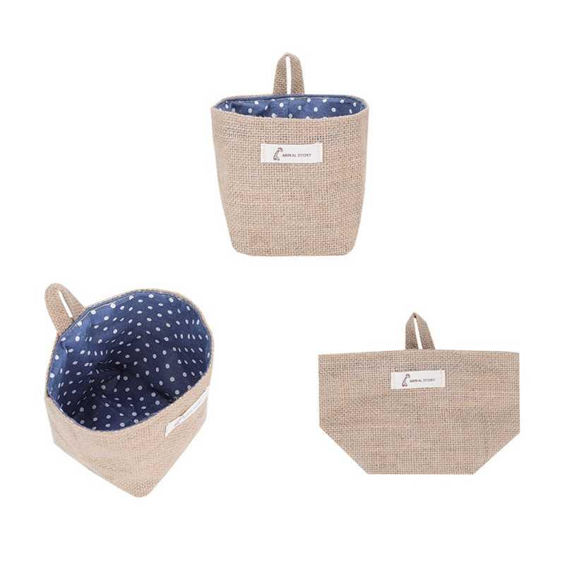 Atacado estilo caixa de armazenamento de juta com forro de algodão cesta de mini armazenamento de desktop sundries saco sacos pendurados 1 pçs/lote