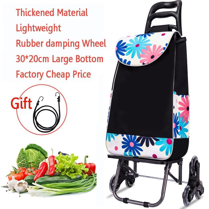 25L Lightweight folding shopping carts Sturdy hand carts trolleys Shopping Bag Waterproof 6 wheels climb stairs