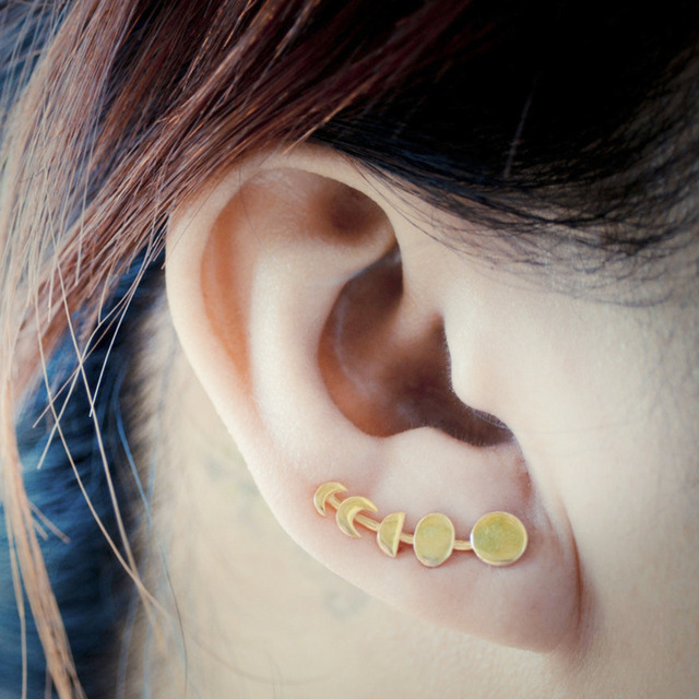 Moon Phases Climbers Ear Crawlers for Women