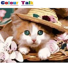 Cat Princess Oil Painting by Numbers Pictures Handpainted for Living Room DIY Unique Gift Kids Home Decoration P-0344