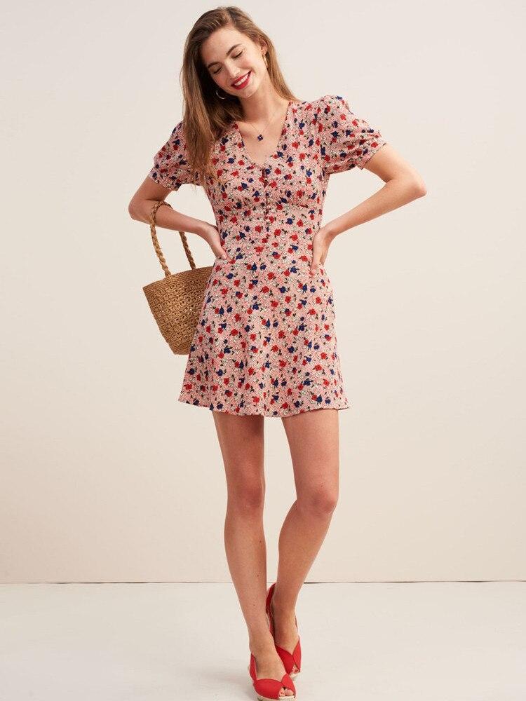 Women Dress Summer New 2019 Short Style Print Floral V Collar Puff Sleeve Slim Waist Robe