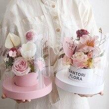 ПВХ Прозрачная Круглая Цветочная коробка с крышкой Цветочная композиция элегантная подарочная коробка для свадебного украшения
