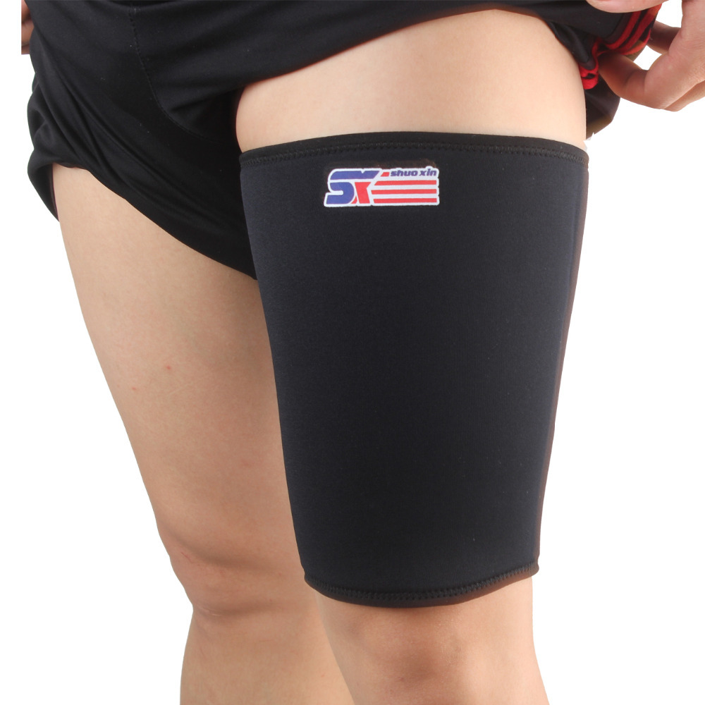 Free Shipping SX563 Sports Elastic Stretchy Thigh Brace Support Wrap Band - Black shuoxin sx662 sports basketball elastic ankle foot brace support wrap black