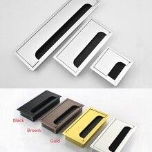 Квадратная Прямоугольная алюминиевая крышка для офисного стола ПК шкафа провода кабельного отверстия заслонки щетки втулки золотой черный коричневый