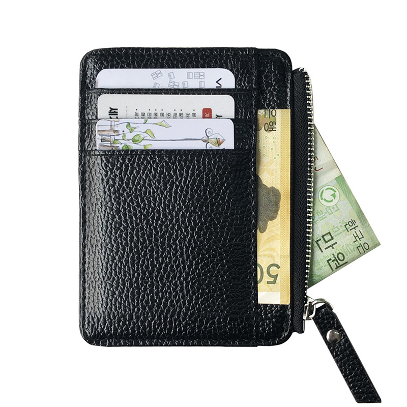 2019 Men Wallet Solid Color Textured PU Zipper Card Holder Mini Coin Purse BS88