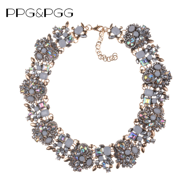 PPG&PGG Rhinestone Flower Necklaces Women Fashion Crystal Jewelry Charm Choker Statement Bib Collar Necklace 2018 vintage bib rhinestone crystal statement choker necklace for women
