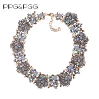 2015 New Colour ZA Collares White Rhinestone Shine AB Crystal Statement Necklace Luxury Chokers Necklaces Pendants