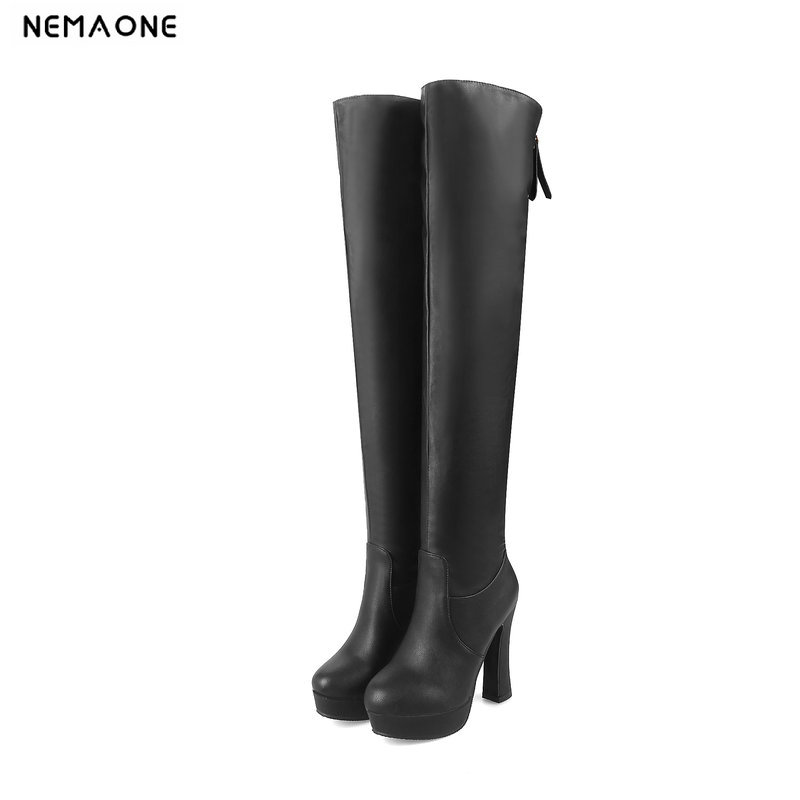 NEMAONE high heels over the knee high women boots black white party ladies boots autumn winter women dancing shoes large size 43 массажер ручной medisana hm 850