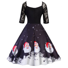 V-Neck winter christmas dress women cartoon bodycon dresses europe style lace A-Line print vintage fall clothes 2018 hot sale