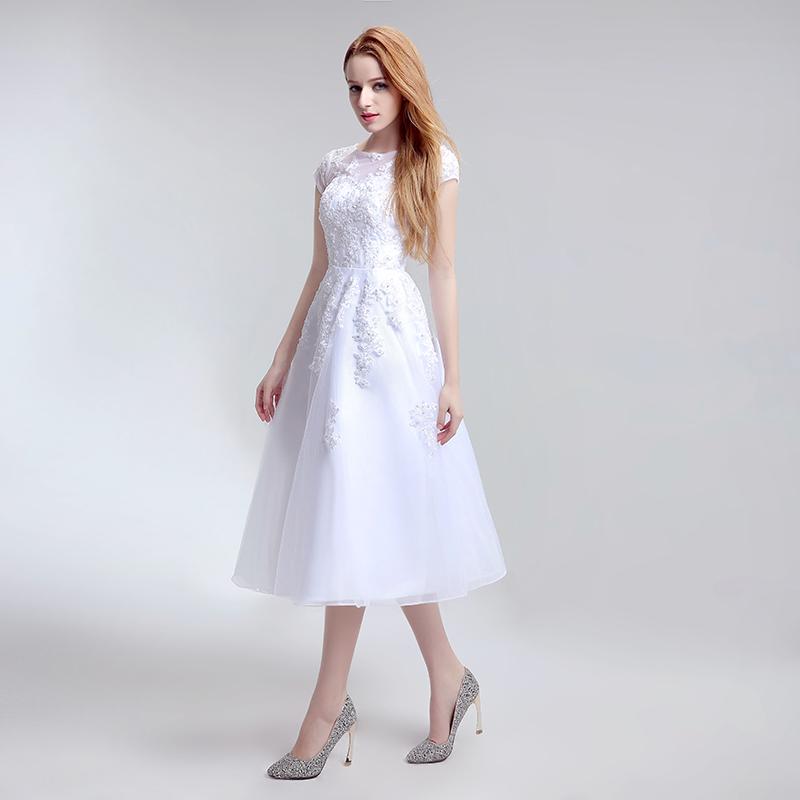 Simple Tea Length Lace Appliques Wedding Dresses Tulle A Line Cap Sleeve Little White Dress Cheap Short Bridal Party Gowns LX183 3