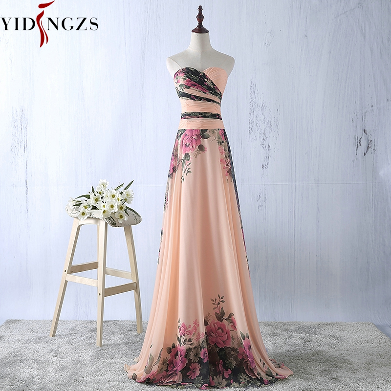 YIDINGZS Bridesmaid Dress Chiffon Pattern Floral-Print