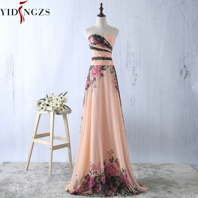 YIDINGZS פרח דפוס שיפון שושבינה שמלה פרחוני הדפסת מסיבת חתונת שמלות 2018
