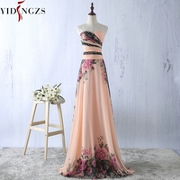YIDINGZS Flower Pattern Chiffon Bridesmaid Dress Floral Print Wedding Party Dresses 2018