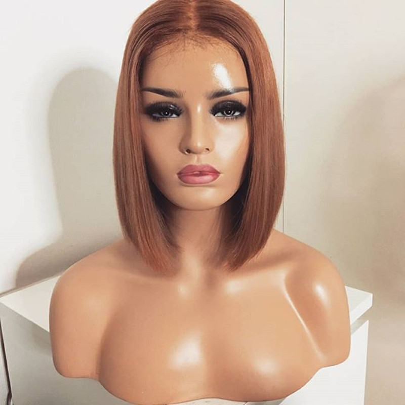 Honey Blonde 13X6 Lace Front Wig 27 Colored Brazilian Remy Short Bob Wigs Human Hair Straight