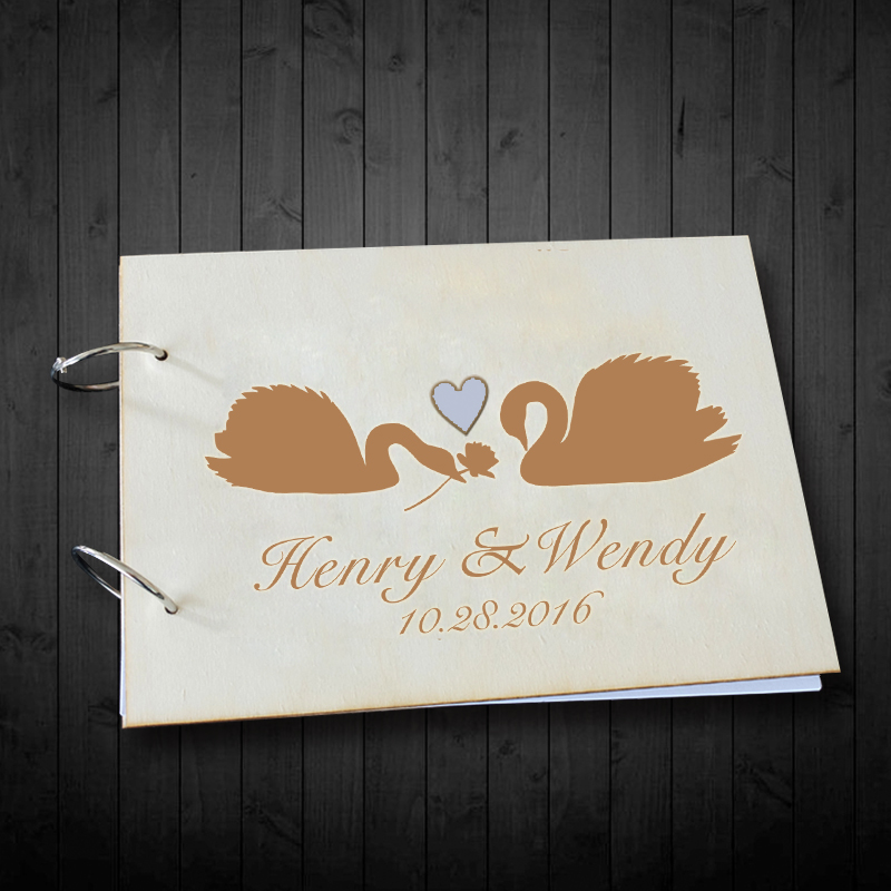 podpis s milostným jménem - Valentines Day Gift Favors Wooden Photo Album Swan with Love Rustic Wedding Guest Book Wooden Signature Book Custom Name & Date